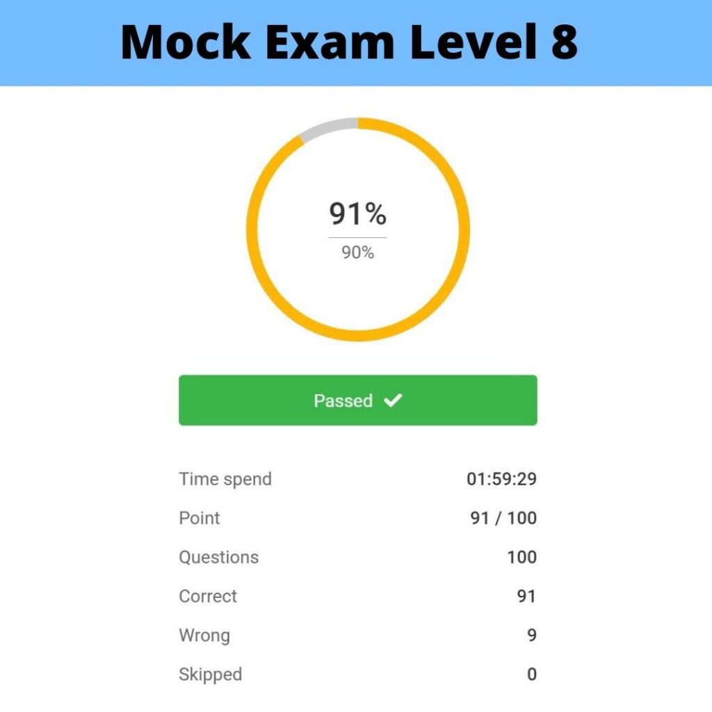Mock Exam Level 8 Example